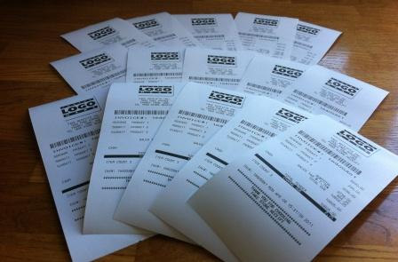 15 Fake Store Receipts - Printed and Delivered for$14.99, less than 1 dollar each for fake receipts