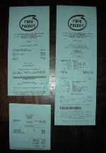 "Click Here To See Full Size Photograph of Fake Receipt Printed on 80mm (3-1/8"") wide blue receipt paper"