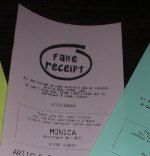 "Click Here To See Full Size Photograph of Fake Receipt Printed on 80mm (3-1/8"") wide pink receipt paper"