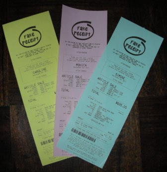 Click Here To See Full Size Image Of Fake Receipts Printed on Colored Thermal Paper